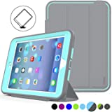 iPad Mini 1/2/ 3 Case Three Layer Heavy Duty Shock Poof Smart Cover, Auto Sleep Wake with Leather Stand Feature for iPad Mini 1/2/3 (Gray/SkyBlue) (Color: Gray/Skyblue)