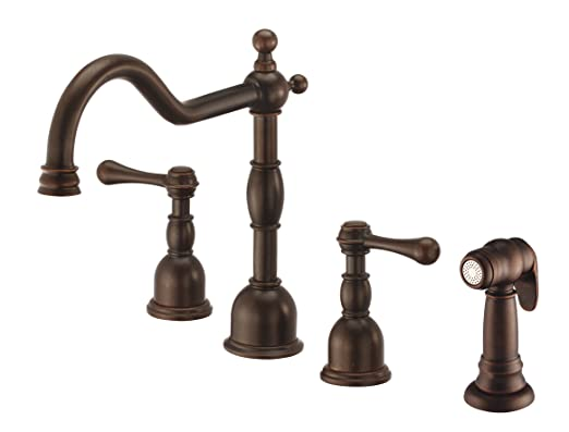 Danze D422257BR Opulence Two Handle Kitchen Faucet with Side Spray, Tumbled Bronze, Tumbled Bronze