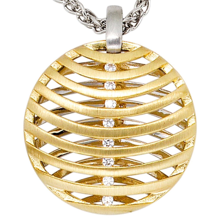 Damen Gold Anhänger 585 Gold Weißgold Gelbgold teilmattiert 8 Diamanten Brillanten günstig online kaufen