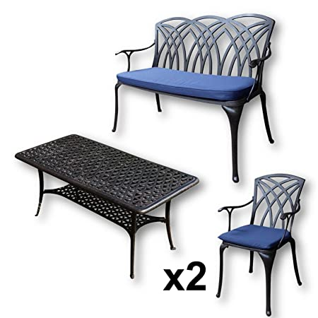 Lazy Susan - Mesa de centro rectangular de jardín CLAIRE, 1 banco APRIL y 2 sillas a juego - Muebles en fundición de aluminio, color Bronce Antiguo (cojín azul)