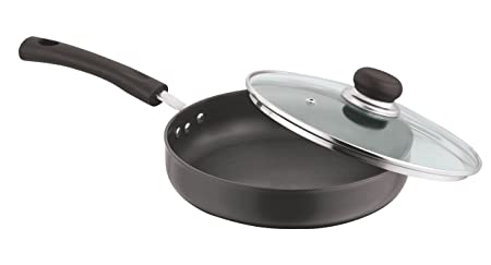 Vinod Cookware Deep Fry Pan with Lid, 24cm, Black at amazon