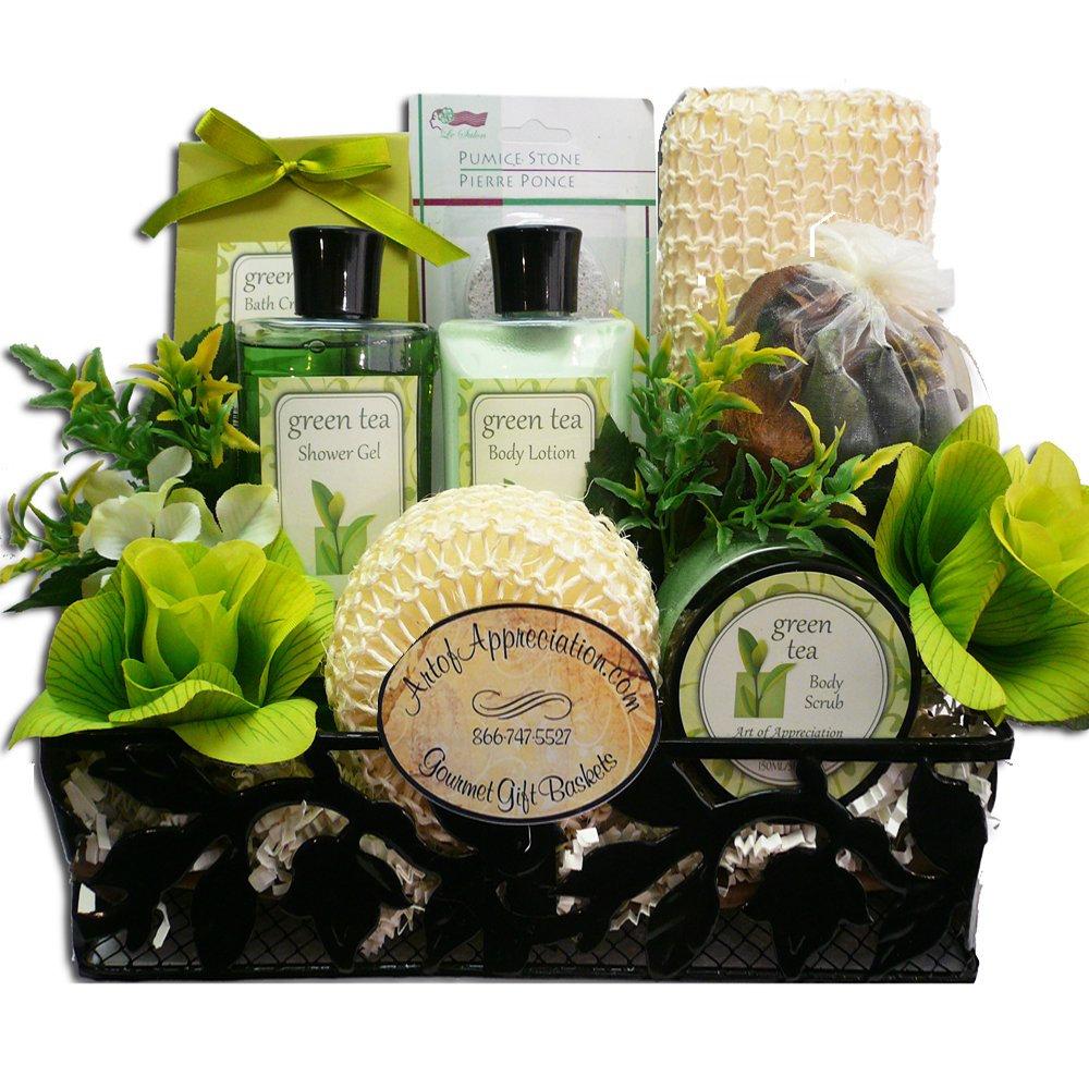 Spa Day Get Away Green Tea Bath and Body Gift Basket Set