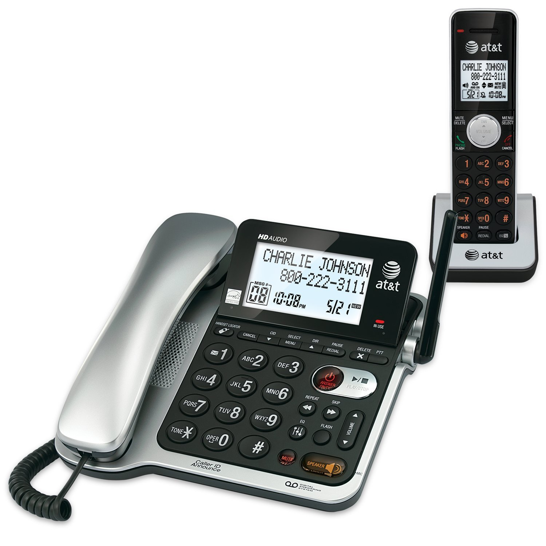 Telefonos-fijos AT&T, AT y T CL84102 DECT 6.0 expandible con o sin teléfono con contestador sistema y ID de llamadas/llamada en espera, negro, 1 cable y 1 auricular inalámbrico en Veo y Compro