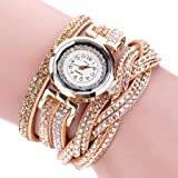 YaidaDuoya Brand Watches Women Luxury Crystal Women Gold Bracelet Quartz Wristwatch Rhinestone Clock Ladies Dress Gift Watches (Gold) (Color: Gold, Tamaño: 24cm)