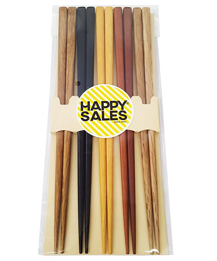Happy Sales HSCH22/S, 5 Pairs Multi Color Design Japanese Bamboo Chopsticks via Amazon