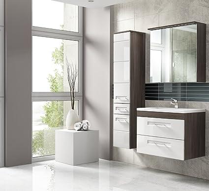 Set da bagno cosmo L 60cm Mobile Bagno Set di mobili da bagno bianco lucido Softclose LED 01114