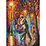 Moohue Modern Embroidery Pattern Oil Painting Embrace in The Rain 14CT Counted Cross Stitch Kits DMC Cotton Thread Craft Supplies (Embrace in The rain) (Color: Embrace in the rain)