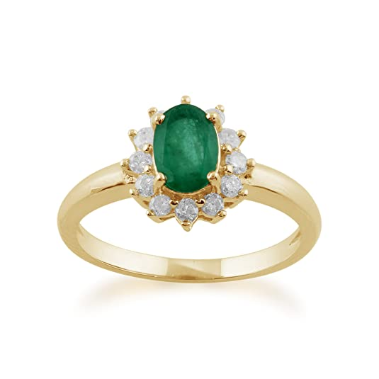 Gemondo Emerald Ring, 9ct Yellow Gold 0.83ct Emerald & Diamond Oval Classic Cluster Ring