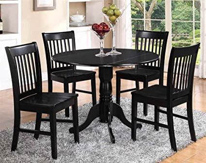 5-Pc Dinning Set in Black and Cherry Finish