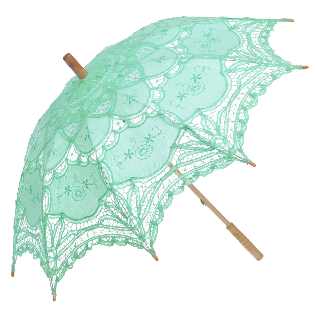 Remedios Ivory Bridal Wedding Cotton Lace Parasol Umbrella for Party Decoration 2