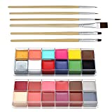 CCBeauty Professional Face Paint Oil 24 Colors Body Painting Art Party Fancy Make Up + Brushes Set,#3 (Color: mix)