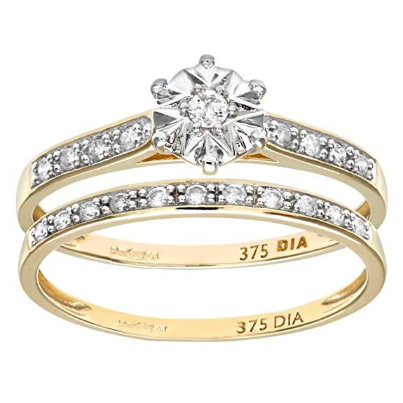 Naava 9ct Yellow Gold 0.15ct Diamond Bridal Set Ring