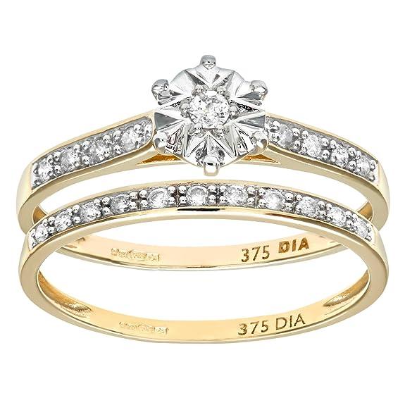 Naava 9ct Yellow Gold 0.15ct Diamond Bridal Set Ring