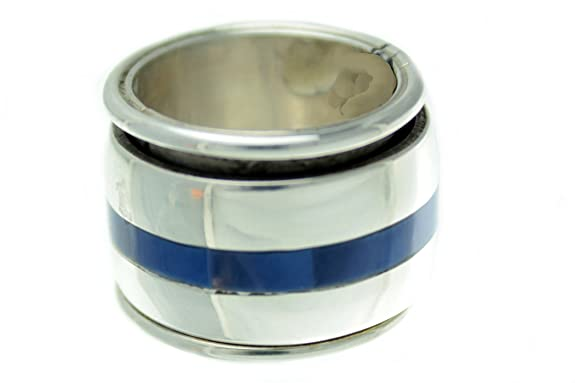 Melvin Francis, Sterling Silver Spinner Ring, Denim Lapis, Navajo, Signed
