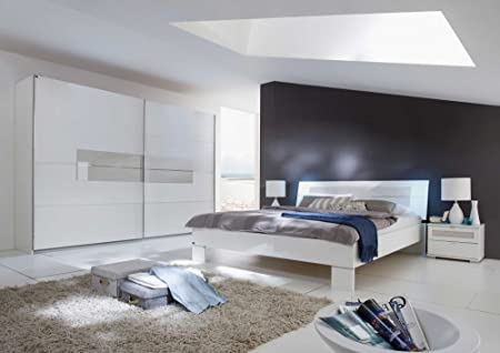 Schlafzimmer, Schlafzimmermöbel, Set komplett, Komplettset, Schlafzimmereinrichtung, Einrichtung, 3-teilig, alpinweiß, Glas, Prosecco