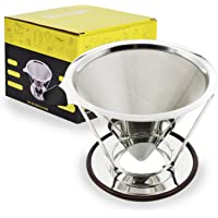 Veego Coffee Filter Stainless Steel Mesh Pour Over Coffee Maker with Stand
