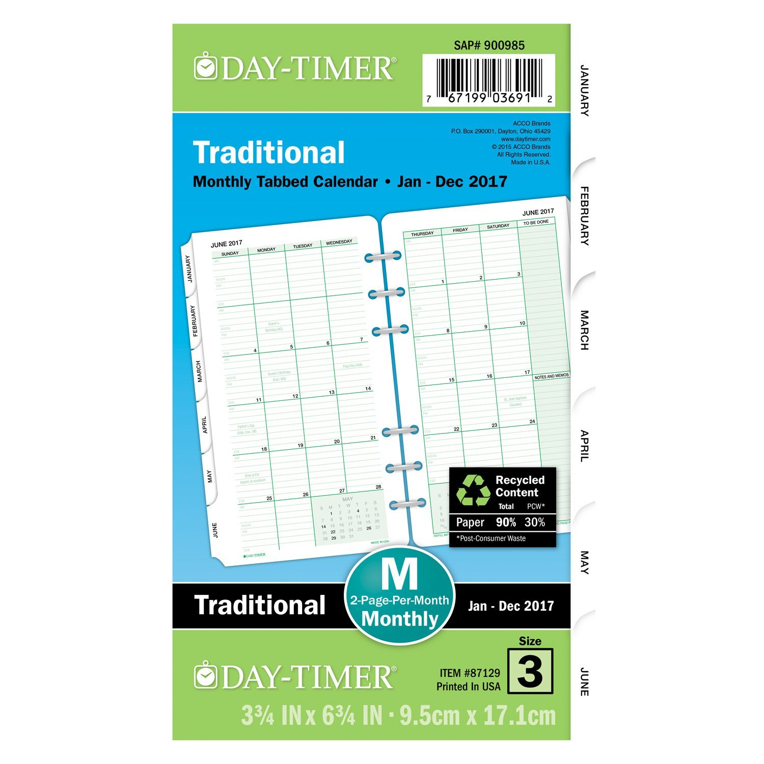 day timer monthly planner refill 87229