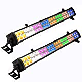 Eyourlife 2 Pcs 48 x 3 W LED Wash Wall Light Bar DJ Lighting DMX512 3/12 Channels Stage Lights Party Wedding Lights 8 Colors LED Lighting for DJ Club Home Party (Color: black, Tamaño: 2 PC)