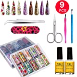 Nail Art Foil Glue Gel with Starry Sky Star Foil Stickers Set - Suncharm Holographic Nail Art Tips Transfer Stickers DIY Decoration, UV LED Lamp Required .