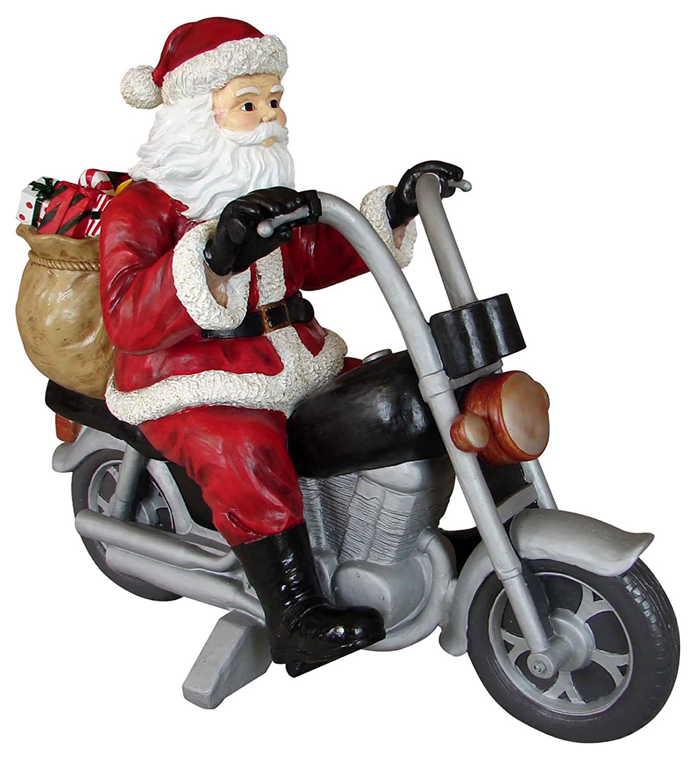 Santa Clause Riding His Motorcycle Outside Christmas Decorations