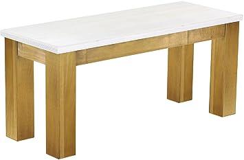 Brasil Möbel panca per sala da pranzo, in legno di pino massiccio, oliata e cerata smaltata, disponibile in diverse misure, Pino, Snow - Brasil, L/B/H: 100 x 38 x 44 cm