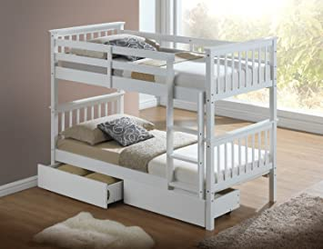 Calder White Hardwood Bunk Bed with Storage Drawers