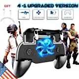 Mobile Game Controller for PUBG Fortnite, L1R1 Turnover Triggers Fire Buttons With Portable Charger Cooling Pad,Adjustable Size 4 In 1 Gamepad for Android & iOS Phone?Upgraded Version 4000mAh? (Color: 4 in 1 Upgraded Controller)