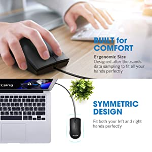 VicTsing Computer Mouse 2 Pack, 2019 Upgraded USB Mouse Optical Wired Mouse with 25% Higher Effeciency for Office Work, Compatible with Computer Lapto
