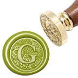 Letter G Wax Seal Stamp, Yoption Brass Head Botanical Alphabet Initial Sealing Stamp with Wooden Handle (Color: G)