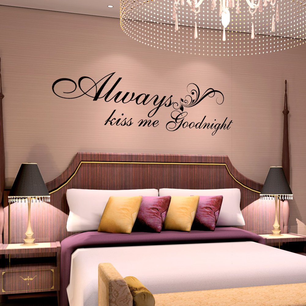 Vinyl Wall Quote – Always Kiss Me Goodnight – Wall Saying Valentine Love Quote Decal Wall Sticker (Black, X-large)