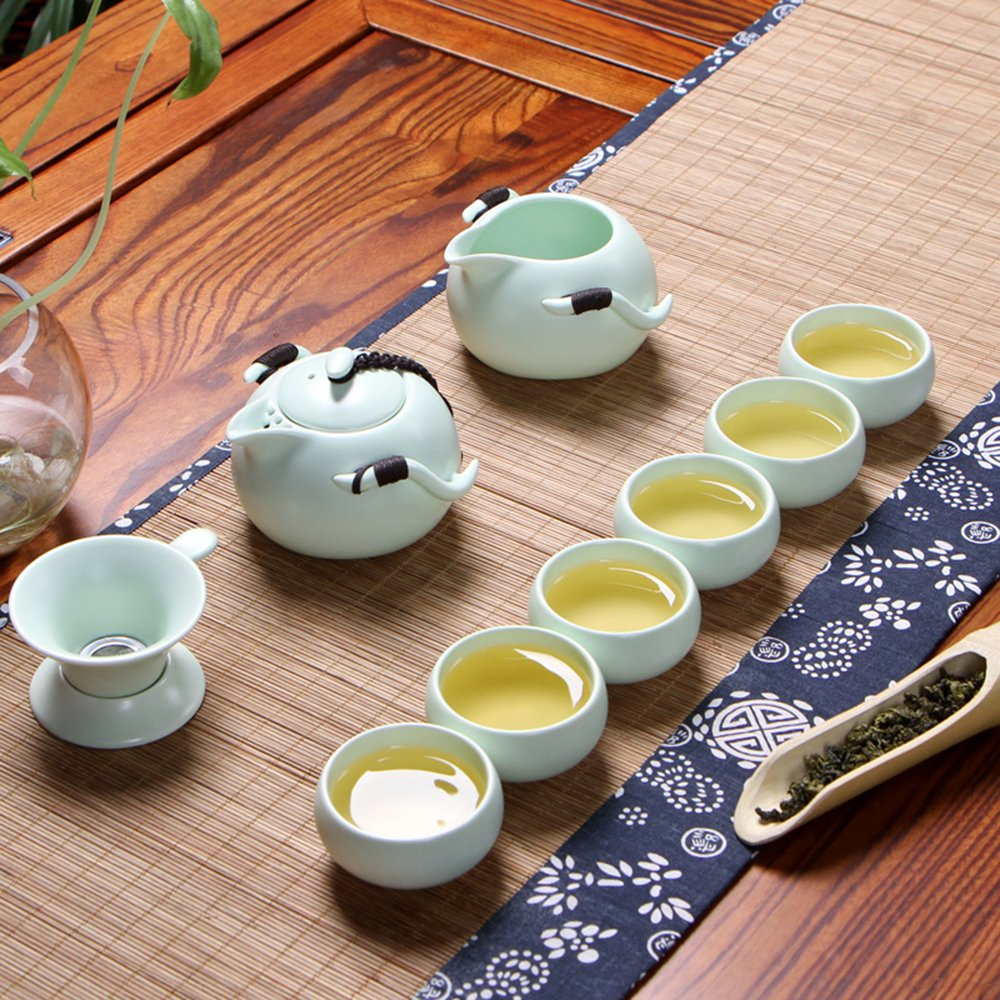 XDOBO Imported Vintage Chinese & Japanese Style Porcelain Handmade Kung Fu Tea Set, 10-pack (Green) 0