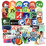 Laptop Stickers for Developer Programming Stickers of Front-end dev,Back-end Languages Stickers for Software Developers, Engineers, Hackers, Programmers, Geeks, and Coders (50PCS) (Color: A)