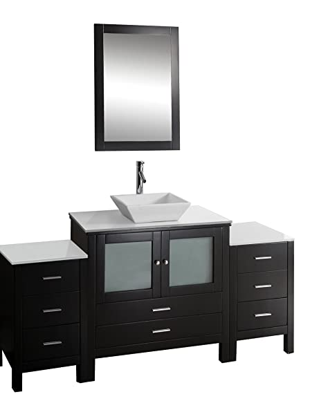 Virtu USA MS-4471-S-ES Brentford 71-Inch Single Sink Bathroom Vanity Set with White Stone Countertop, Chrome Faucet, Espresso Finish
