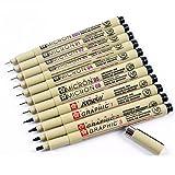Sakura 11 Pcs Pigment Liner Pigma Micron Ink Fine Line Pen Set 005 01 02 03 04 05 08 1 2 3 Brush with Pen Case, Black, Made in Japan (Color: Black, Tamaño: Fine Line Pen, Set of 11)