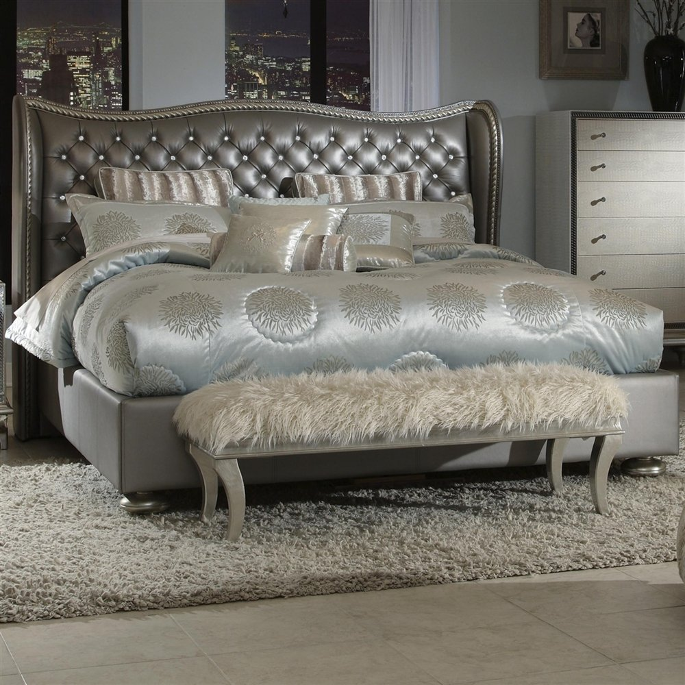 Leather Bed Frame King King Graphite Leather Bed