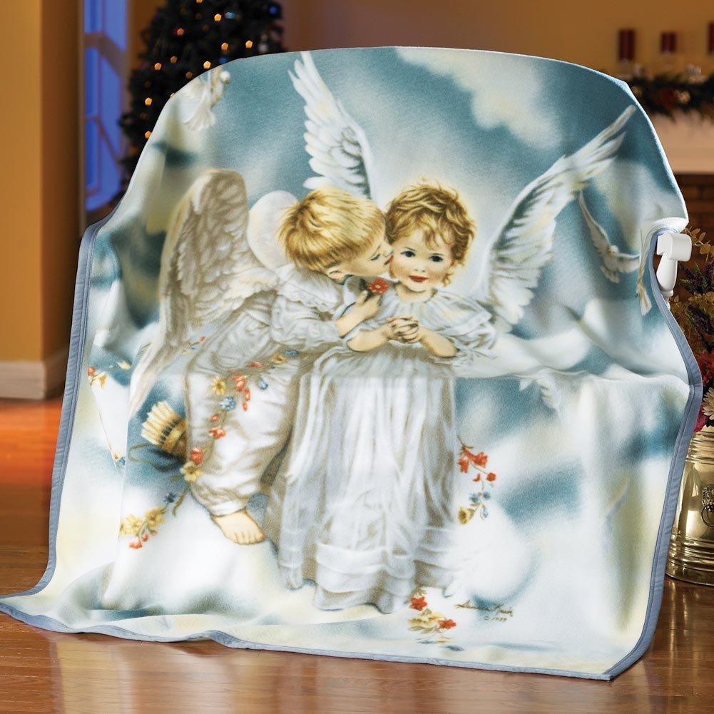 Sandra Kuck Kissing Angel Fleece Throw Blanket