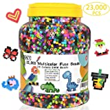 Fuse Beads, 23,000 pcs Multicolor Fuse Beads Kit for Kids Crafts, 5MM 30 Colors Melty Beads Including 3 Pegboards, 5 Ironing Paper, 10 Patterns for Boys and Girls, Works with Perler Beads by INSCRAFT (Color: INSCRAFT Multicolor Fuse Beads Kit)