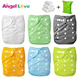 Cloth Diapers, Angel Love 6 Pack Diaper Covers+6 Diaper Inserts+1 Wet Dry Bag, Baby Washable Cloth Pocket Diapers, Reusable, All in one Size, Adjustable Snap, Gift Set, 1ZH01 (Neutral Color) (Color: ZH1 color)