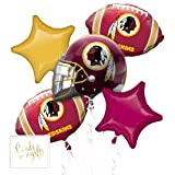 Andaz Press Balloon Bouquet Party Kit with Gold Cards & Gifts Sign, Redskins Football Themed Foil Mylar Balloon Decorations, 1-Set (Color: Sports Redskins)