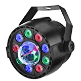 Eyourlife Stage light, 12 LED Par Lights RGB Disco Party Lights Magic Ball Light Projector Auto Sound Activate DMX 512 Control Stage Lighting for Wedding Birthday Home Party Event Effect (Color: black, Tamaño: 12 LED Par Lights RGB Light)