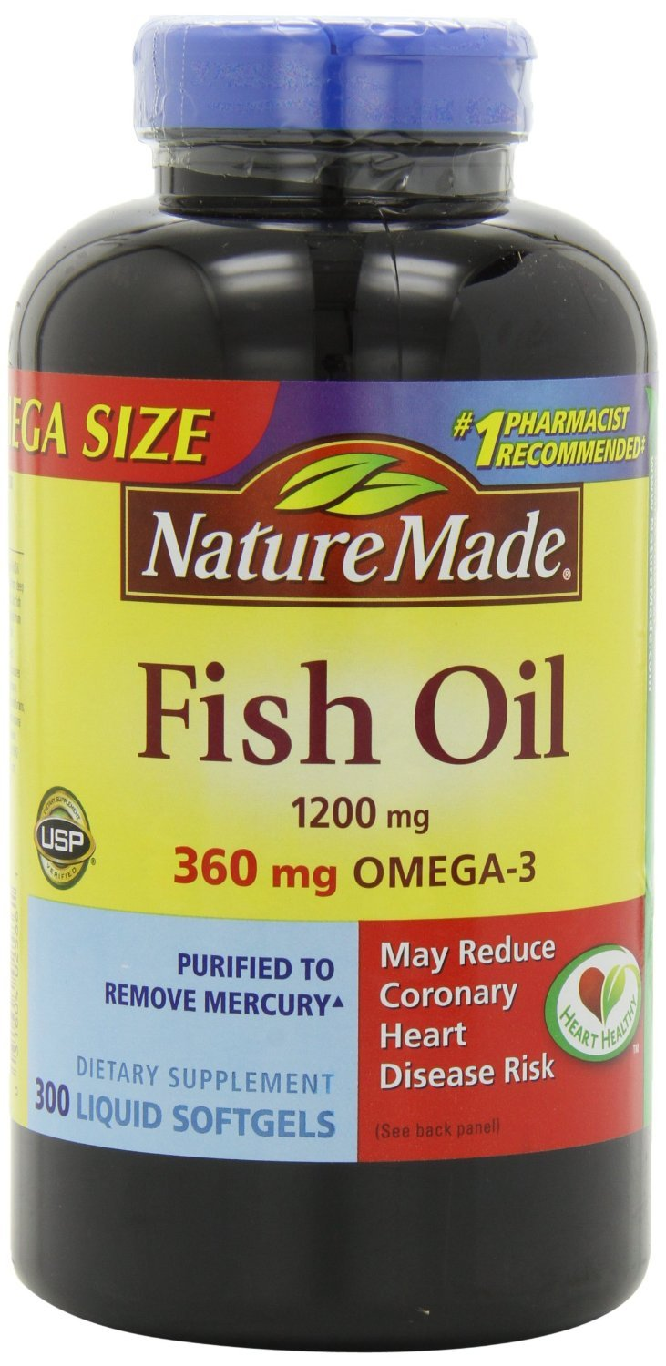 Nature Made Fish Oil Omega-3 1200mg (3, 300 Liquid Soft Gels) omega 3 fish oil for dogs and cats liquid 8oz human grade quality nhv petomega 3