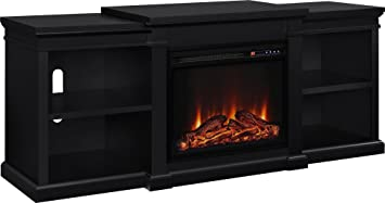 "Altra Furniture Manchester TV Stand with Fireplace, 70"", Black"