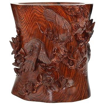 CLHK Cinesi intagliati a mano multa rosso mogano legno artigianato intaglio del legno forniture per ufficio penna titolare molto felice collezioni d'arte statua , a
