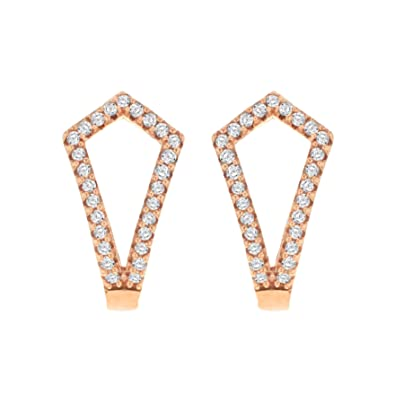 Pave Prive Women's 9ct Pink Gold Round White Diamonds Triangle Shield Hoop Earrings