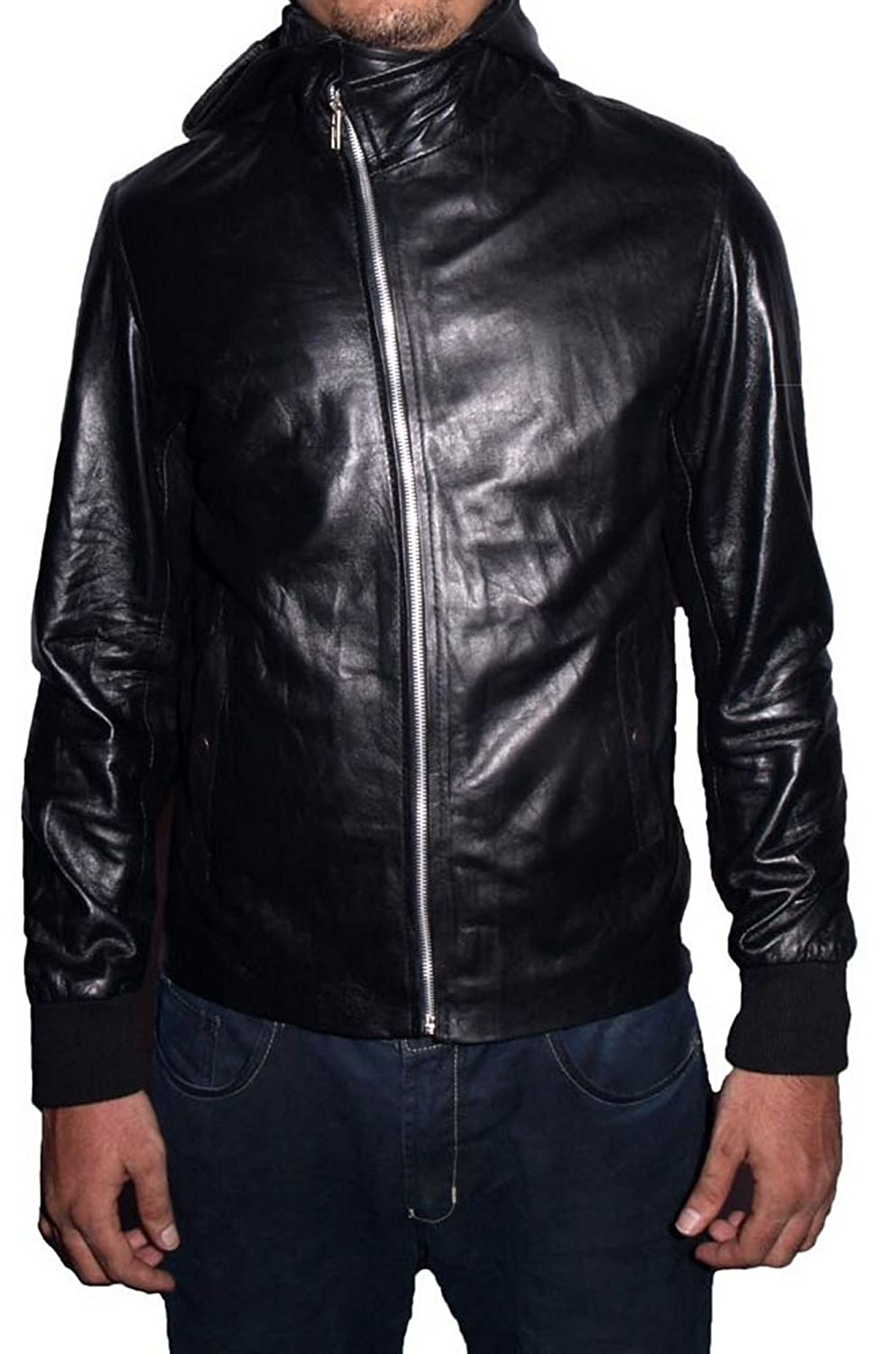 HLS Men's Rick Hoody Black Sheep Leather Jacket