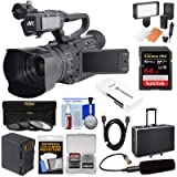 JVC GY-HM170U Ultra 4K HD 4KCAM Professional Camcorder & Top Handle Audio Unit with XLR Microphone + 64GB Card + Battery + Hard Case + LED Light Kit (Color: Black, Tamaño: Hard Case Kit)