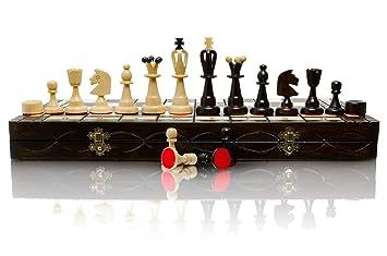 ÉNORME 50cm / 20in plus grande Echecs en bois et Dames / Dames Jeu, Handcrafted Classic Game