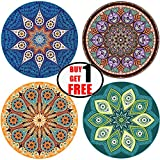 "SaIe - ENKORE Absorbent Ceramic Stone Coaster For Drinks - MANDALA, 4 Pack Large 4.3"" Size With Cork Back - TODAY ONLY, GET ANOTHER FREE SET SENT TO YOU AUTOMATICALLY, YOU GET TOTALLY 8 COASTERS"