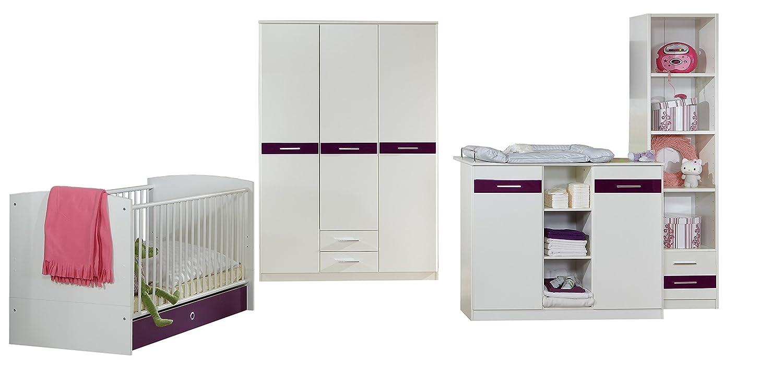 Wimex 367432 Babyzimmer Set, 6-teilig, alpinweiß / Absetzung hochglanz brombeer