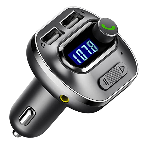 VicTsing (Upgraded Version V4.1 Bluetooth FM Transmitter for Car, Wireless in-Car Bluetooth Adapter, Bluetooth Radio Transmitter Support Aux Input Output, TF Card and U-Disk, Hands Free Calls-Grey (Color: Grey)